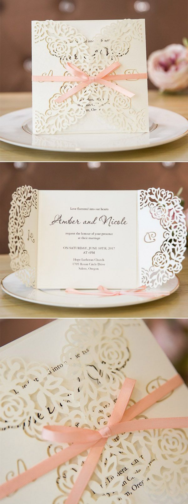 custom laser cut monogram wedding invitation cards