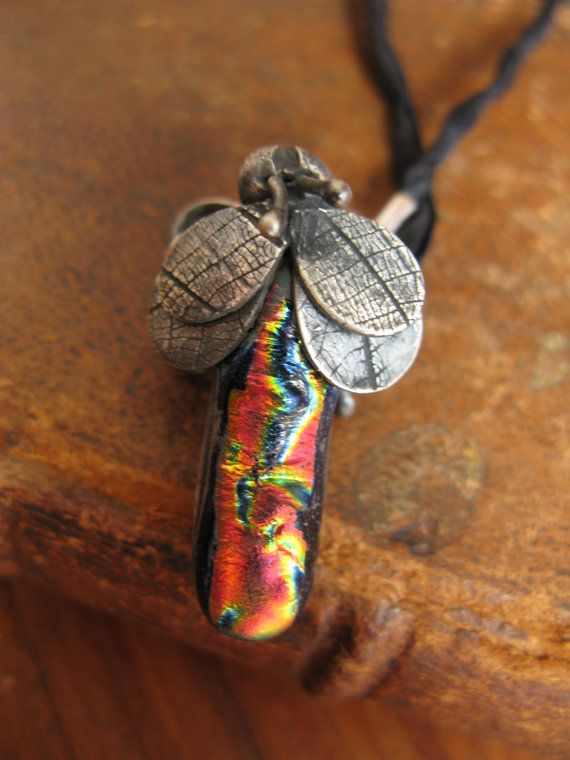 Handcrafted Unique Solid Silver and Dichroic Glass Bug Pendant - Rainbow & Black Dragonfly on 100% Silk Cord - Fully UK Hallmarked on Etsy, $98.86