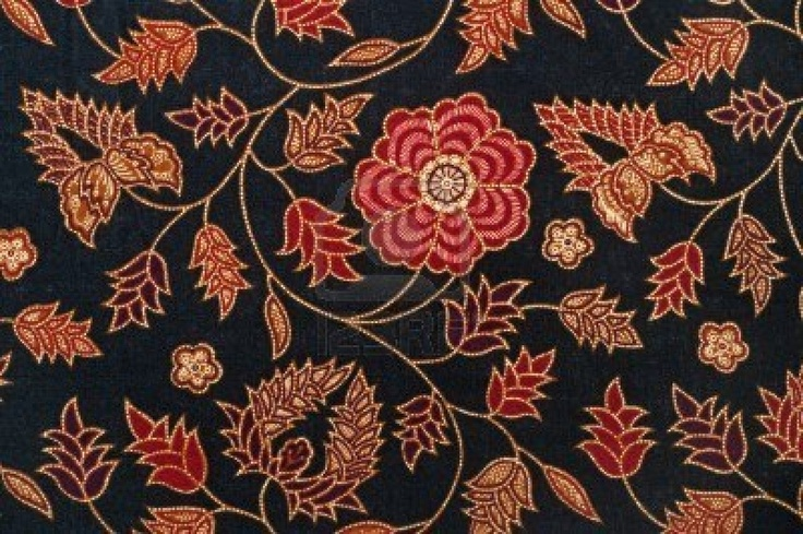 Detail of Batik from Malaysia with Flowers and Leaves Stock Photo