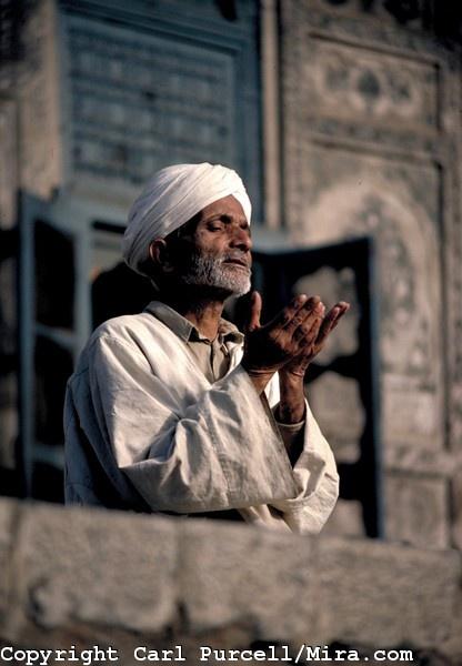 Muslim prayer. Srinagar, Kashmir.