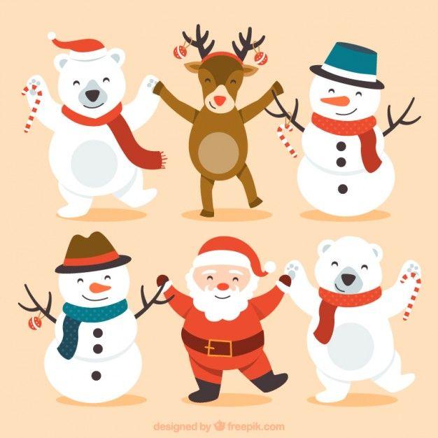 Caracteres natal felizes bonitos Vetor grátis