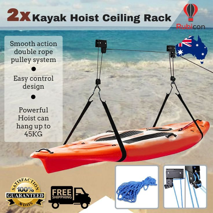 2x Kayak Hoist Bike Lift Pulley System Ceiling Hook Garage