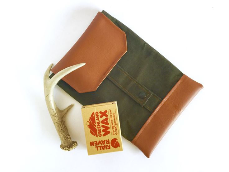 Dad diaper wallet / Forest green waxed Canvas pouch / Gender neutral diaper bag…