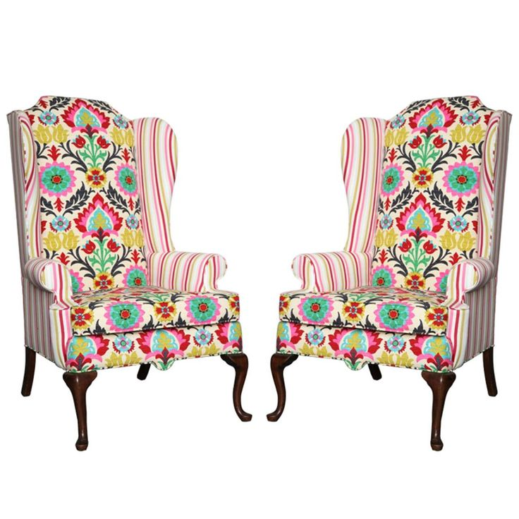 1960s Missoni Wingback Chair At 1stdibs: Pair Of American Drexel Queen Anne Wingback Chairs C.1960