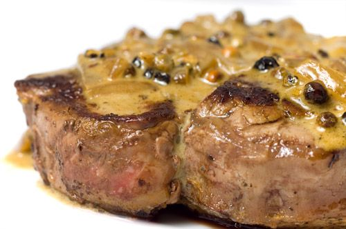 Filet Mignon with Peppercorn Sauce...trying this tonight for our New Year Eve's dinner along with crab legs :-))))