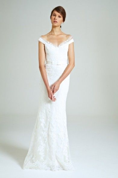 Collette Dinnigan Mirabella Off the Shoulder Lace Gown