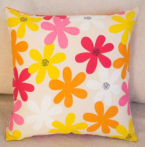 Flower Pillow Cover, Orange Cushion Cover, Cotton Throw Pillow, Orange Flower Pillow, Multicolor Pillow Case, Yellow Floral Cushion, 16x16