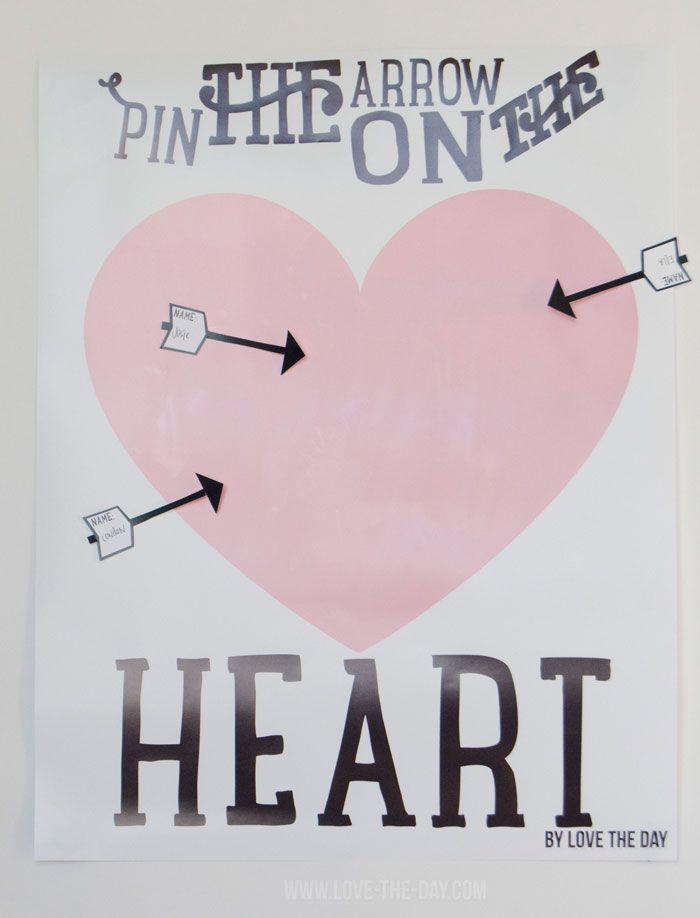 Valentine Party Games:: Pin The Arrow On The Heart by MichaelsMakers  Love The Day