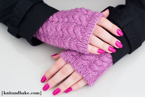 cabled fingerless gloves knitting pattern, knit on ...