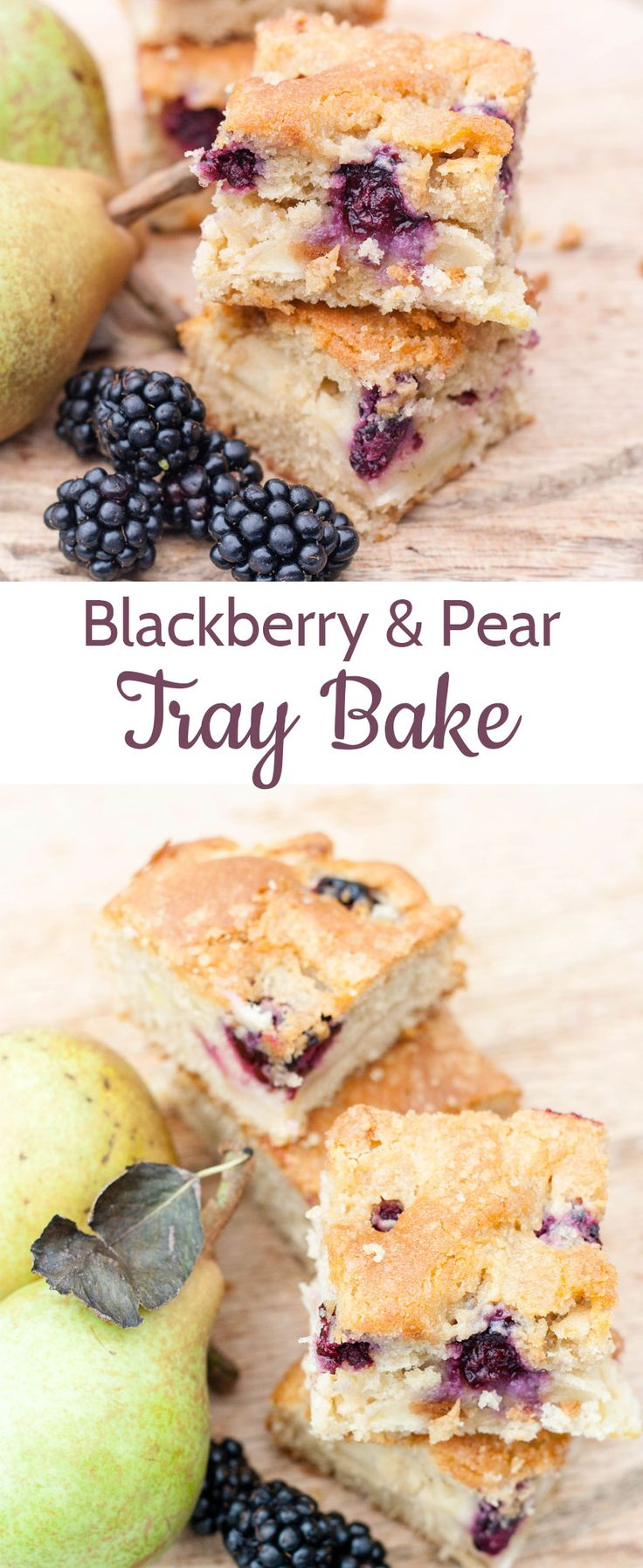 Enjoy this blackberry and pear traybake and use up unripe windfall fruit; it's perfect for picnics.