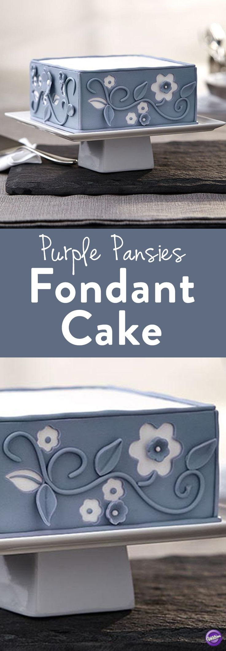 Purple Pansies Fondant Cake – Flowers abound on this lovely violet-colored cake. A Craftsy class will give you the skills you need to decorate this easy-to-make cake using the Wilton Blossom and Leaves Double Cut-Outs Sets.