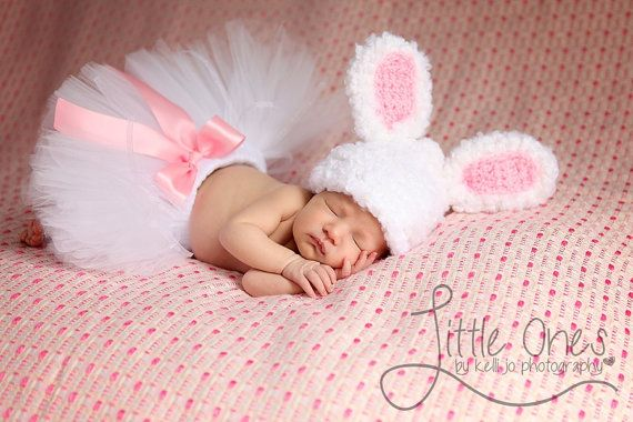 BUNNY TUTUEaster tutu Custom Made Hand-Tied Ribbon by HAPPYBUBKIN  Is this adorable or what?!