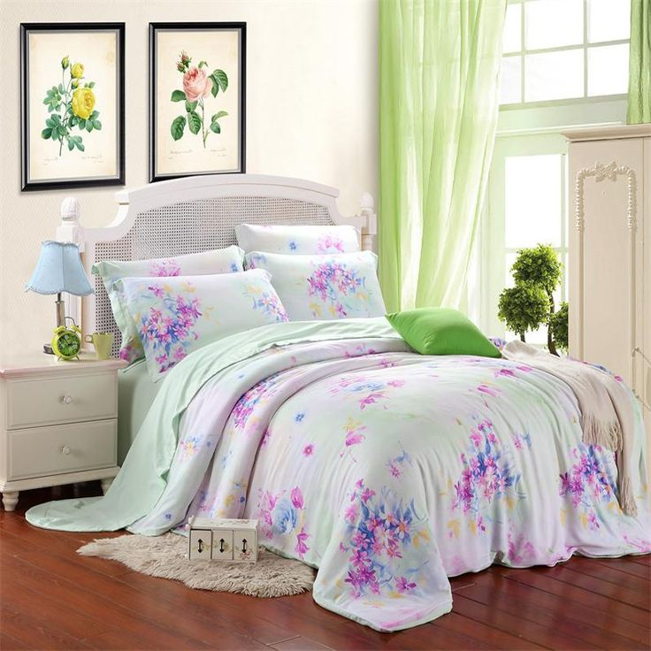 Alice Blue Purple and White Rustic Flower Garden Asian Inspired Nature 100% Tencel Bedding Sets