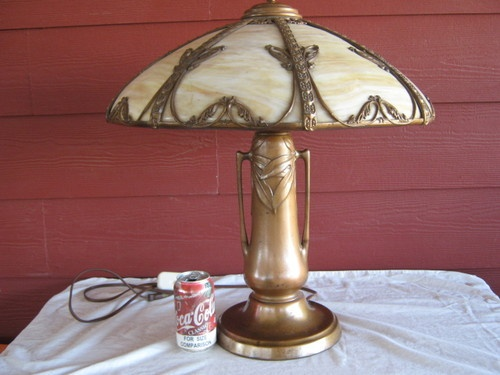 Huge Vintage Charles Parker Co Slag Glass Table Lamp Dutch Auction | eBay