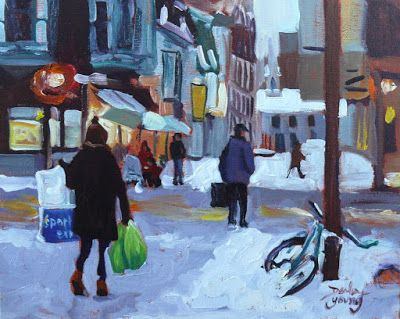 Darlene Young a Painting a Day: 1025 Chinatown Winter Night, 8x10, oil on board