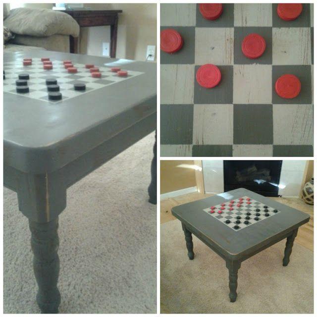 Tafel inspiratie: Koffietafel met een dambord. Ik zou het een andere kleur geven maar dit is een geweldig idee. Het heeft ook een dubbele functie - decoratief en functioneel.