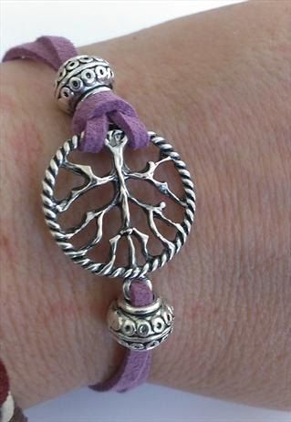 Spiritual Tree Of Life Purple Suede Bracelet by MysticMoonShadow, £15.00