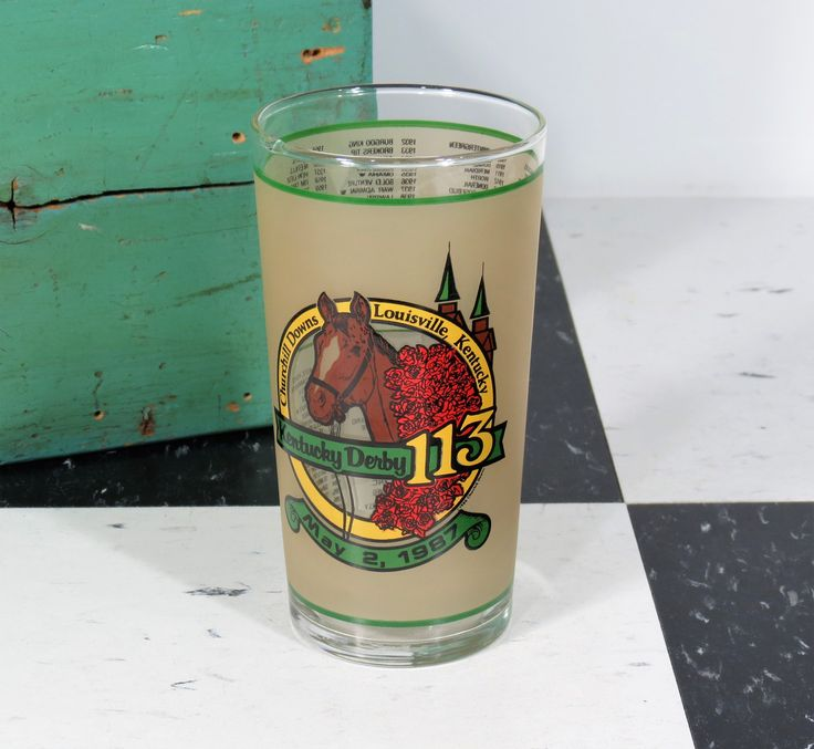 "1987 Kentucky Derby Mint Julep Glass . Churchhill Downs Triple Crown Winner ""Alysheba"" . Official Harry M. Stevens by 13thStreetEmporium on Etsy"