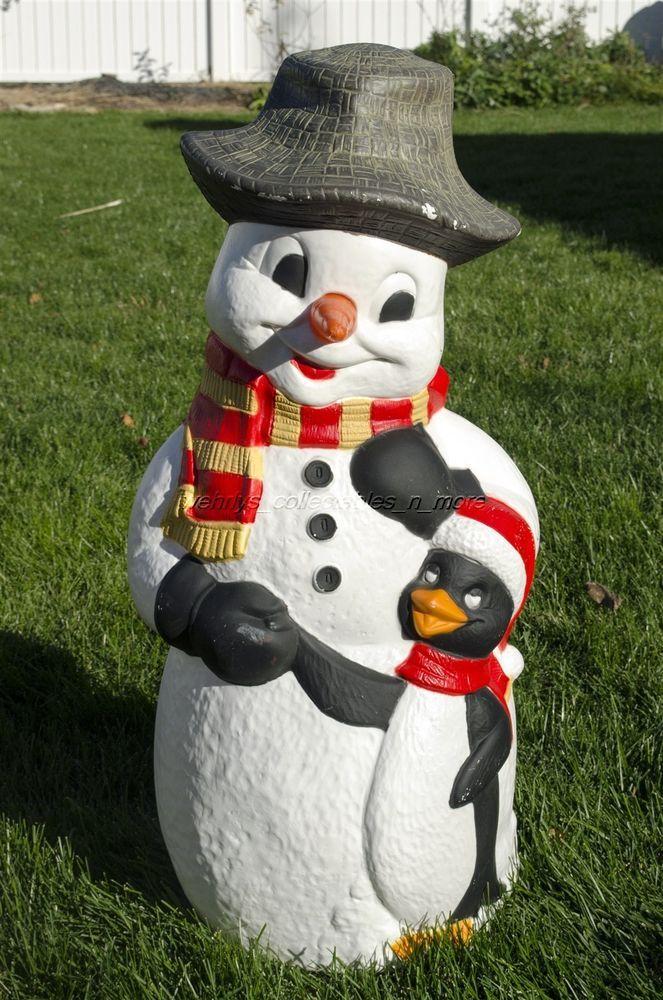 """Vintage TPI 32"""" Snowman w/ Penguin Christmas Blow Mold ..."""