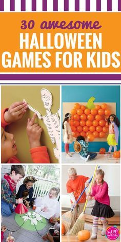 Planning the Halloween party for school? You'll love these 30+ DIY Halloween games for kids and for adults. Whether you are planning a preschool party or need something for older kids, these games are perfect for all ages. Includes Halloween Minute to Win It games too.