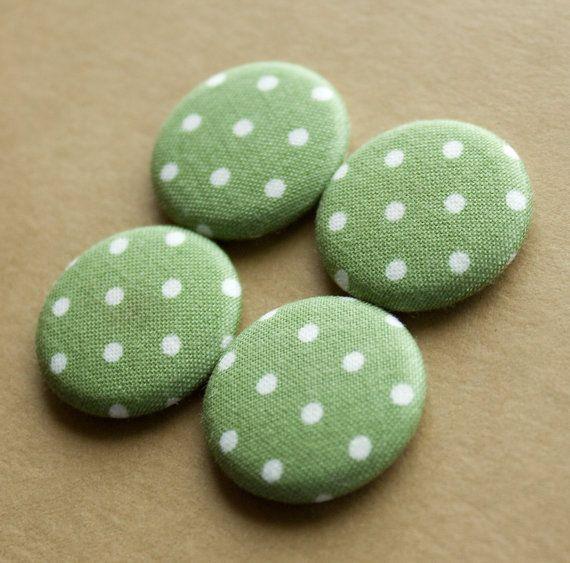 Green Polka Dot Magnets  set of 4 by HowlOwl on Etsy.
