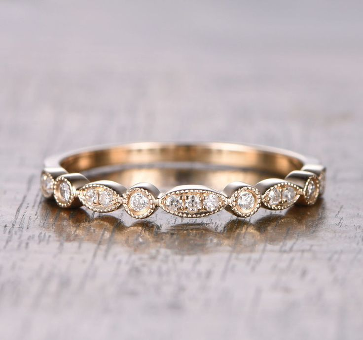 $259 Pave Diamond Wedding Band For Women Half Eternity Anniversary Ring 14K Rose Gold Art Deco Antique
