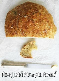 This simple, 5-ingredient, no-knead oatmeal bread recipe has the added health benefit of oatmeal.