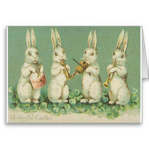 Vintage Easter Bunny Orchestra Card