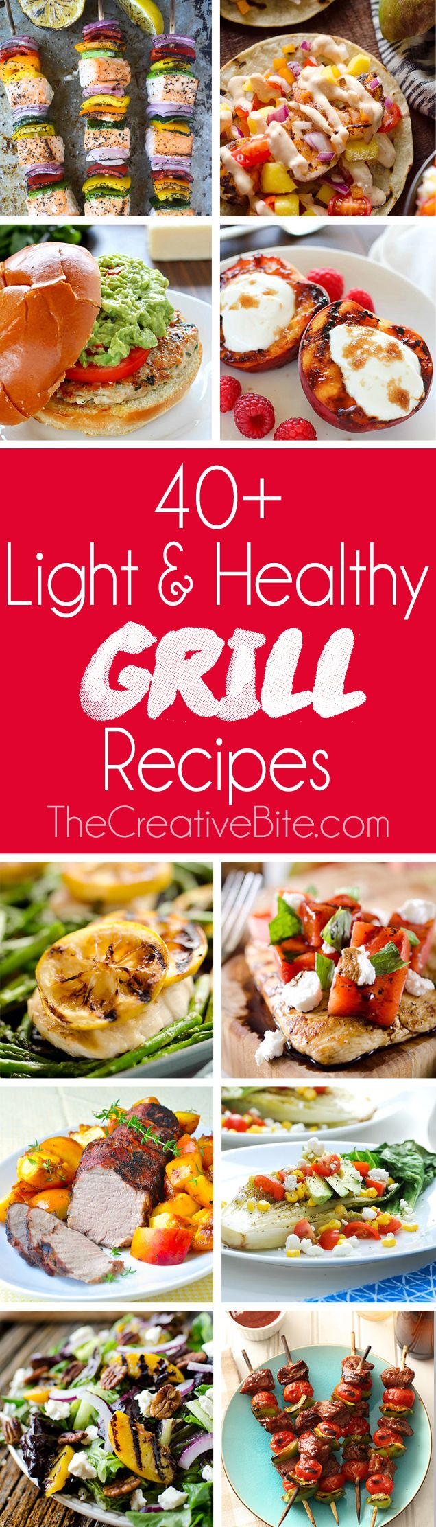 40+ Light & Healthy Grill Recipes are a great roundup of meals with everything from burgers, tacos & chicken to kebabs and foil packets! #Healthy #Light #Grill