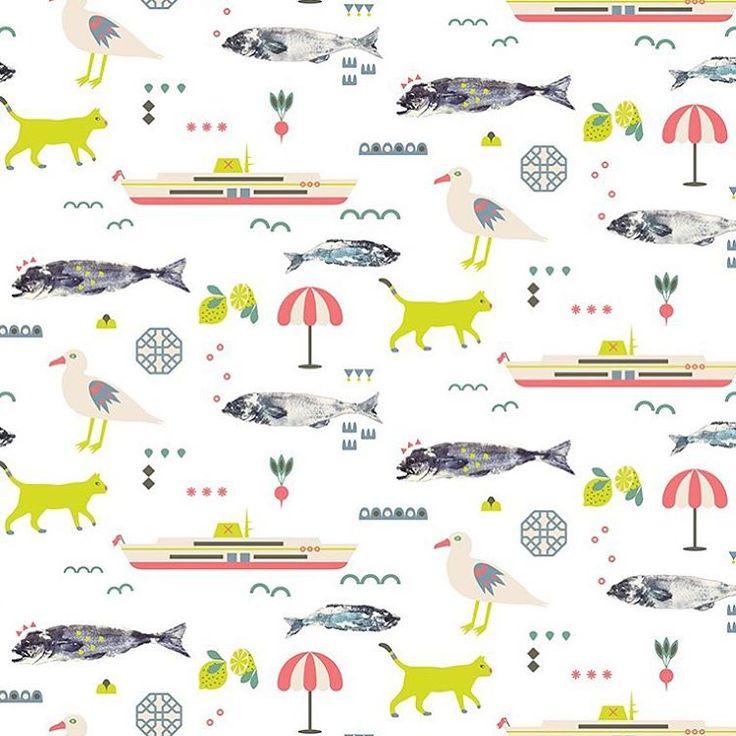pattern design, illustration, wrapping paper, Eva Lechner, istanbul, karaköy, fish market
