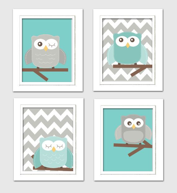 Digital Nursery Art Teal and Grey nursery Nursery by ChicWallArt
