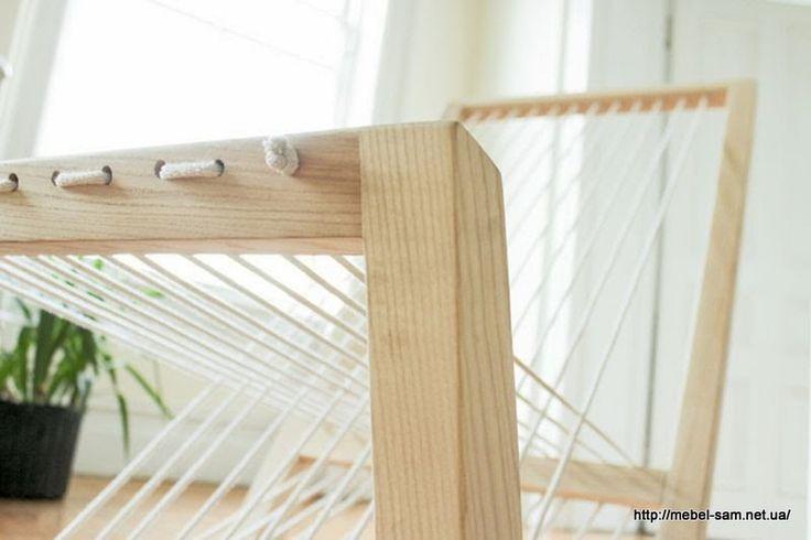Для создания мягкой части у этого кресла служит обычная бельевая веревка