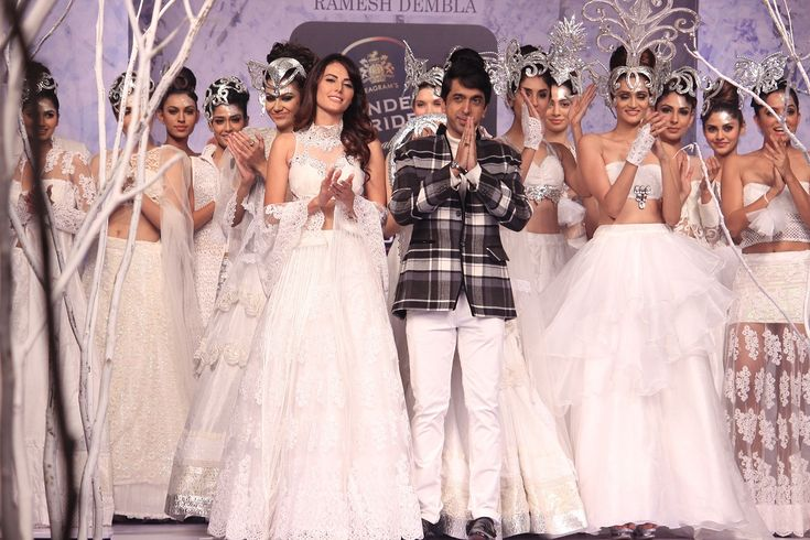 #RameshDembla presented his #hypnotic collection called #IvoryDreams with fairy white #gowns and heavy #headgears