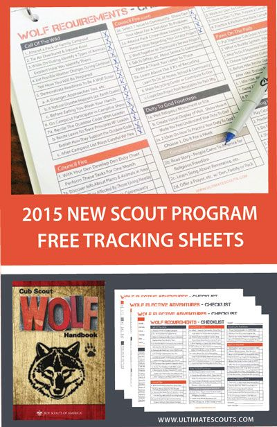 new cub scouts wolf program tracking sheets. free printable