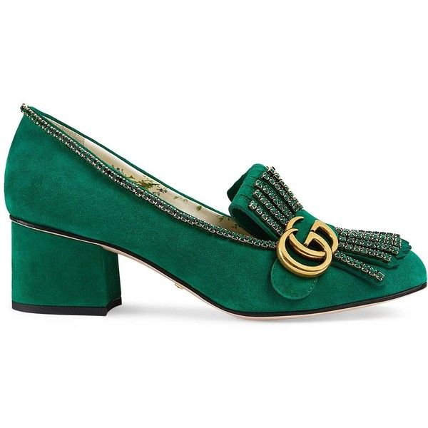c4eb6610b Gucci Women's Marmont Suede Pumps ($1,350) ❤ liked on Polyvore featuring  shoes, pumps, green, green loafers, gucci pumps, gucci shoes, slip-on shoes  and ...