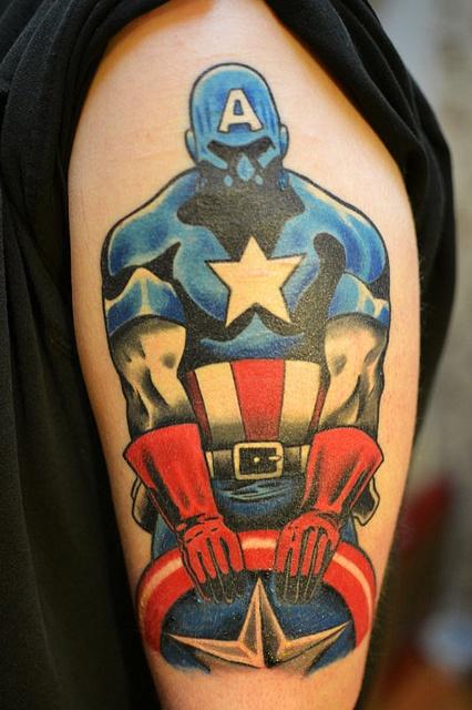 Columbus Custom Tattoo Designs: Captain America By Jack At Fate Tattoo In Columbus, Ohio