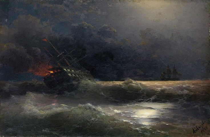 Ivan Konstantinovich Aivazovsky. The Burning Ship, Original Size: 30,5 x 46 cm, Date: 1896. Buy this painting as premium quality canvas art print from Modarty Art Gallery. #art, #canvas, #design, #painting, #print, #poster, #decoration