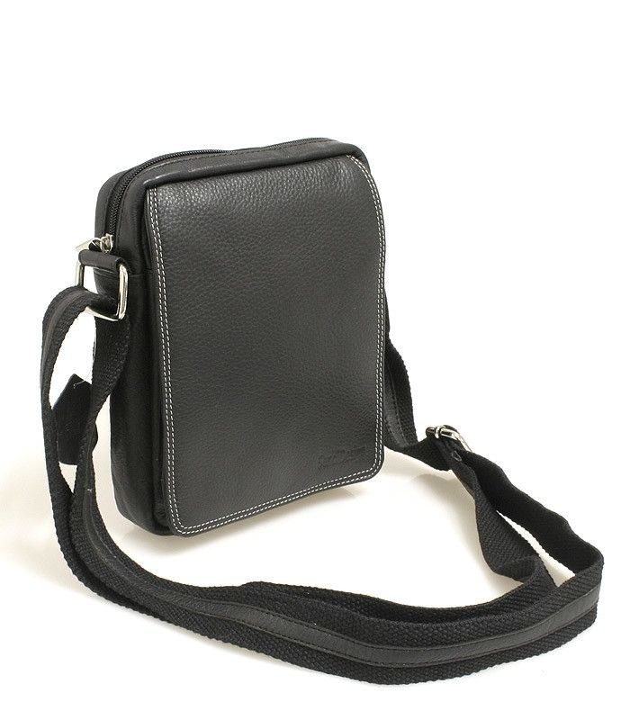Černá pánská taška na doklady SendiDesign (dříve Enrico Benetti) z pravé kůže. Uvnitř – kapsa na zip. Zepředu – pod klopnou na cvoček je kapsa na zip, přihrádky na karty, kapsička na mobil a propisku. Zezadu – kapsa na zip. Součástí tašky je nastavitelný popruh v kombinaci textil/kůže.