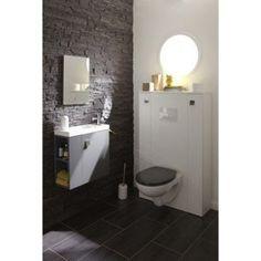 Meuble lave-mains avec miroir Slim, gris gris n°1 | Leroy Merlin