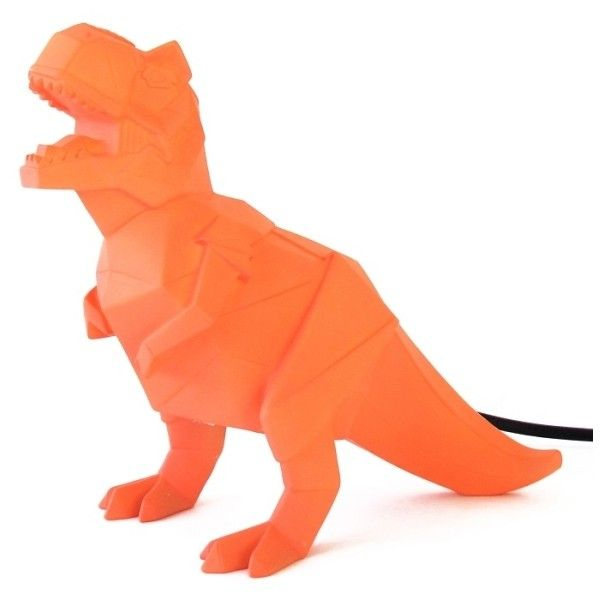 Orange Origami T-Rex Lamp ($37) ❤ liked on Polyvore featuring home, lighting, table lamps, origami lights, dinosaur lamp, disaster designs, orange lighting and orange lamp