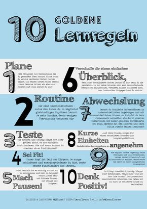 10 gute Lernregeln... Von Päda.logics! gefunden auf der Pinwand von Jan Felix Kumkar. Beratungen im pädagogischen und sozialen Berufsfeld: www.paeda-logics.ch oder www.facebook.com/paeda.logics