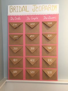 Bridal jeopardy for pink and gold bridal shower