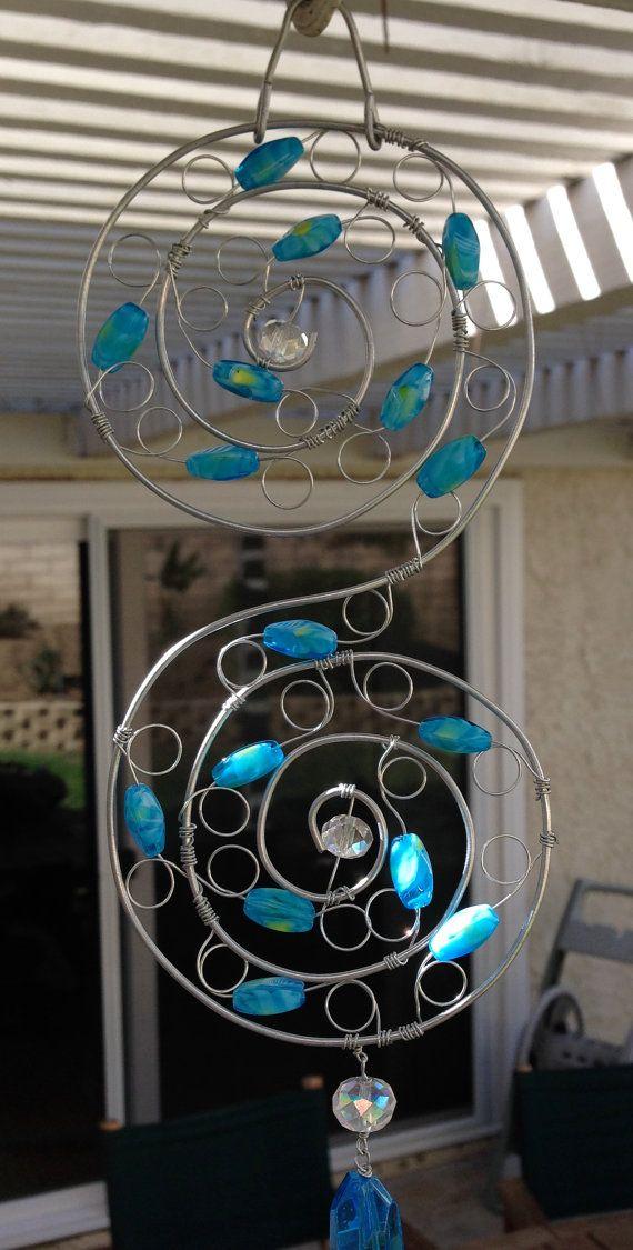 beaded suncatcher blue glass beads s spiral shape for. Black Bedroom Furniture Sets. Home Design Ideas