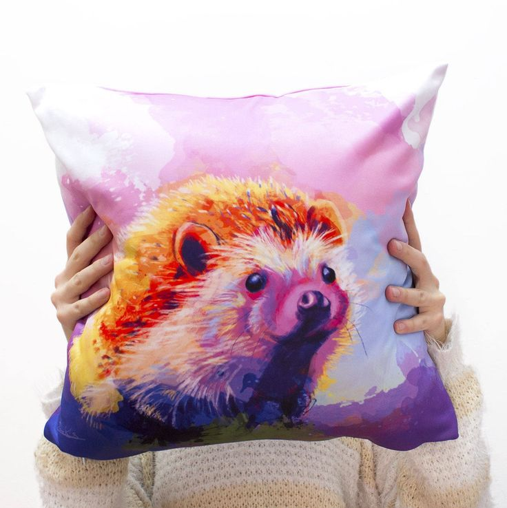 """Cute hedgehog throw pillow cover! This animal pillow cover features the digital painting of an adorable little hedgehog. I titled the painting """"Sweet Hedgehog"""". It will be perfect as animal nursery decor or as girl room decor. Or get it for yourself and liven up your house! Pillow case only, filling not included."""
