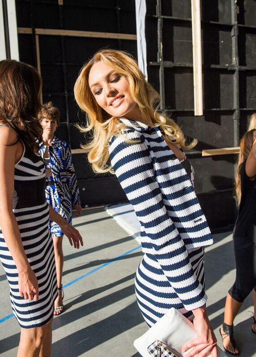 Candice backstage at Diane von Furstenberg S/S 2015