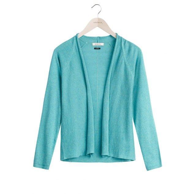 Sandwich Clothing Linen Blend Fine Knit Cardigan Blue