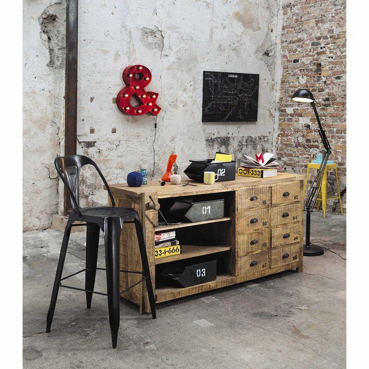 comptoir en manguier massif factory l 170 cm prix buffet maisons de monde maisons du. Black Bedroom Furniture Sets. Home Design Ideas
