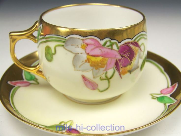 BEAUTIFUL STOUFFER LIMOGES HAND PAINTED FLOWER TEA CUP & SAUCER TEACUP