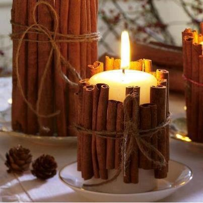 I love candles and what a beautiful way to take a plain looking candle and make it feel outdoorsy and smell great