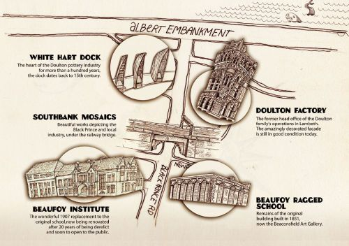 The map for the Vauxhall Ragged Schools tour, showing the sites of interest